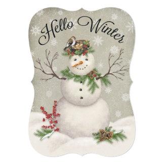modern vintage winter garden snowman card