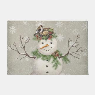 modern vintage winter garden snowman doormat