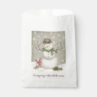 modern vintage winter garden snowman favour bag