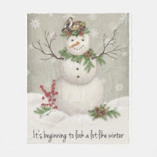 modern vintage winter garden snowman fleece blanket