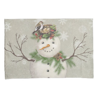 modern vintage winter garden snowman pillowcase