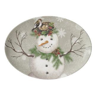 modern vintage winter garden snowman porcelain serving platter