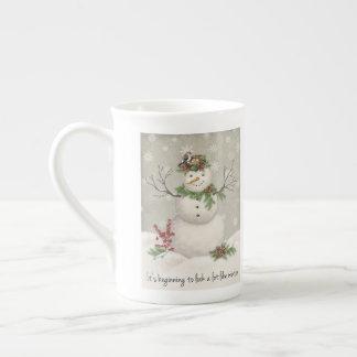 modern vintage winter garden snowman tea cup