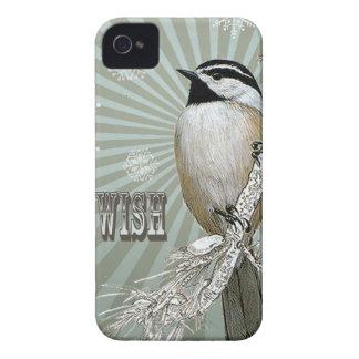 modern vintage winter woodland chickadee iPhone 4 cases
