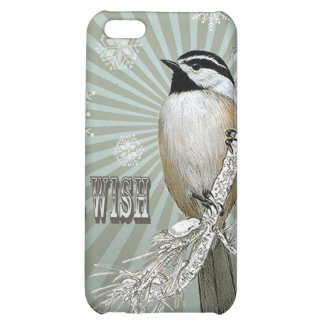 modern vintage winter woodland chickadee cover for iPhone 5C