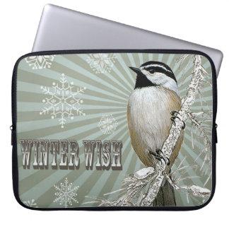 modern vintage winter woodland chickadee laptop sleeves