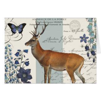 modern vintage woodland deer card
