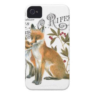 modern vintage woodland fox Case-Mate iPhone 4 case