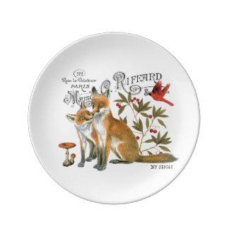 modern vintage woodland fox porcelain plate