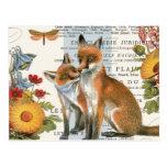 Modern vintage woodland fox postcard