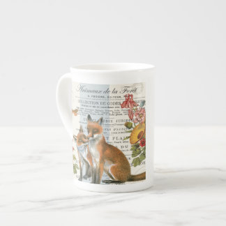 Modern vintage woodland fox tea cup