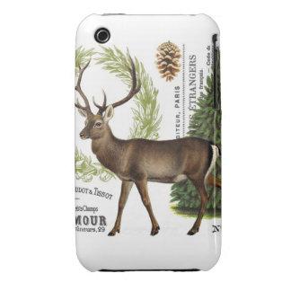 modern vintage woodland winter deer Case-Mate iPhone 3 case