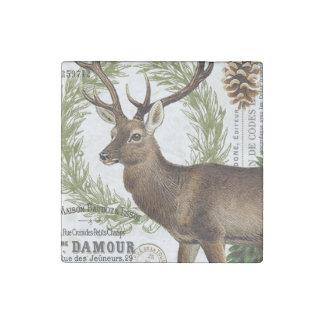 modern vintage woodland winter deer stone magnet