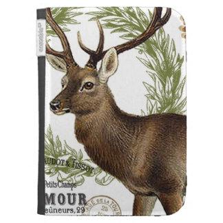 modern vintage woodland winter deer kindle 3 case