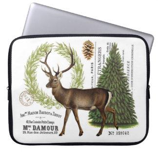 modern vintage woodland winter deer computer sleeves