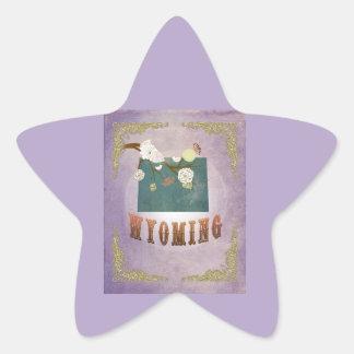 Modern Vintage Wyoming State Map- Sweet Lavender Stickers