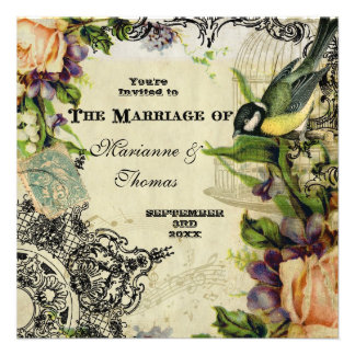 Modern Vintage Yellow Song Bird Cage Swirl Floral Invitations