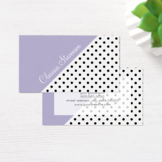 Modern violet geometric retro polka dots pattern business card