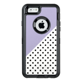 Modern violet geometric retro polka dots pattern OtterBox defender iPhone case