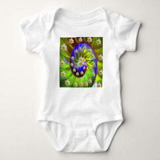 modern VIOLET GREEN GARDEN  SPIRAL &  DAFFODILS Baby Bodysuit