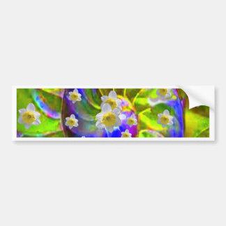 modern VIOLET GREEN GARDEN  SPIRAL &  DAFFODILS Bumper Sticker