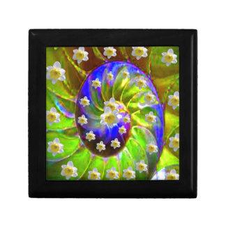 modern VIOLET GREEN GARDEN  SPIRAL &  DAFFODILS Gift Box