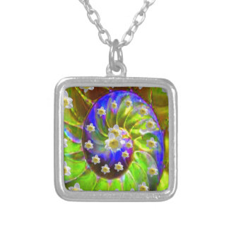 modern VIOLET GREEN GARDEN  SPIRAL &  DAFFODILS Silver Plated Necklace