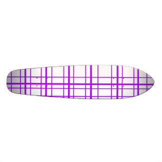 Modern violet plaid on white background skateboard deck