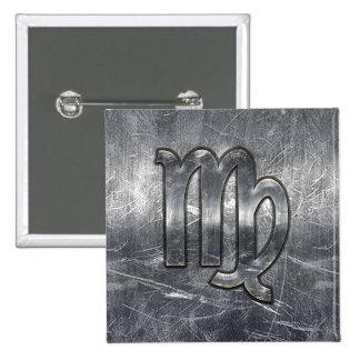 Modern Virgo Zodiac Sign Grunge Distressed Style 15 Cm Square Badge