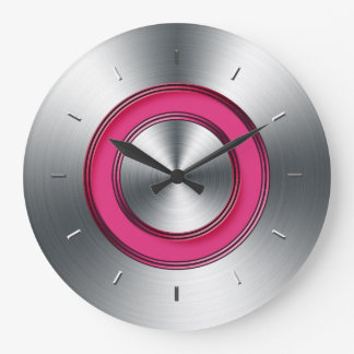 Modern Wall Clock Faux Metal And Fuchsia
