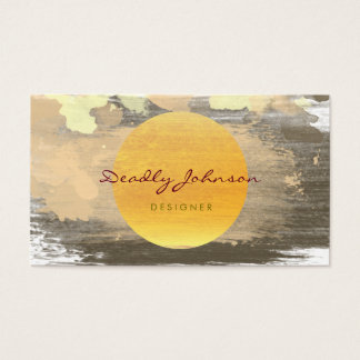Modern Watercolor Abstract Elegant Black Yellow Business Card