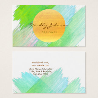 Modern Watercolor Abstract Elegant Cool Green Business Card