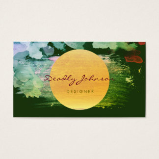 Modern Watercolor Abstract Elegant Green Yellow Business Card