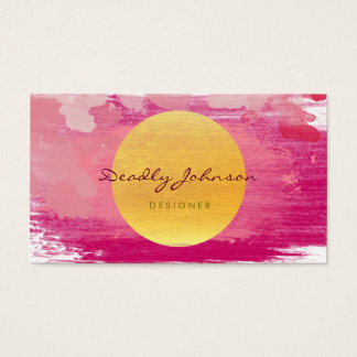 Modern Watercolor Abstract Elegant Pink Yellow