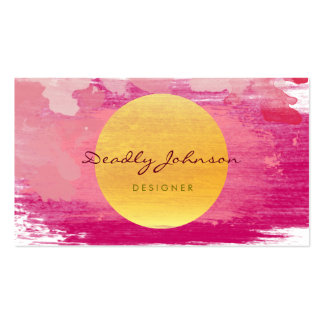 Modern Watercolor Abstract Elegant Pink Yellow Pack Of Standard Business Cards