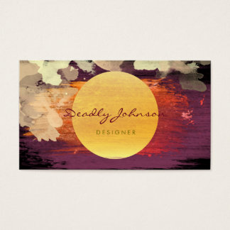 Modern Watercolor Abstract Elegant Red Yellow Business Card