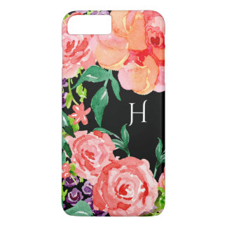 Modern Watercolor Black Floral Pink Purple Flowers iPhone 8 Plus/7 Plus Case