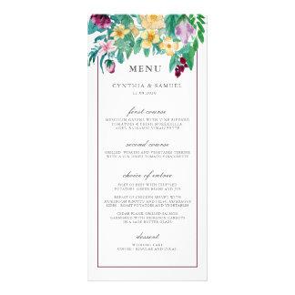 Modern Watercolor Blooms Wedding Menu