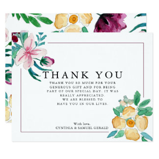 Modern Watercolor Blooms Wedding Thank You Card