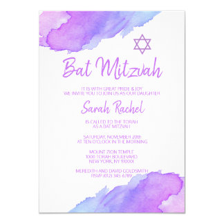 Modern Watercolor Blue Star of David Bat Mitzvah Card