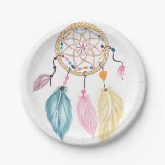 Modern watercolor boho dreamcatcher feathers paper plate