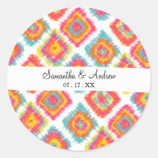 Modern watercolor boho summer tie dye Ikat pattern Classic Round Sticker