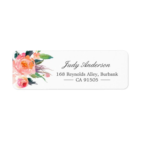 Modern Watercolor Botanical Floral Return Address Label