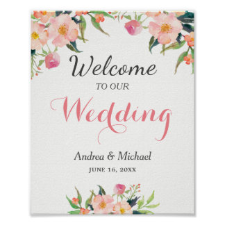 Modern Watercolor Botanical Floral Wedding Sign