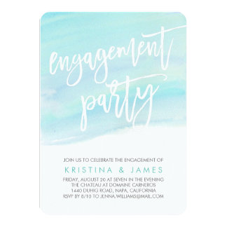 Modern Watercolor Engagement Party Invitation