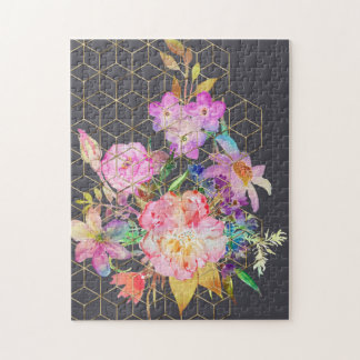 Modern watercolor floral and gold geometric cubes. jigsaw puzzle