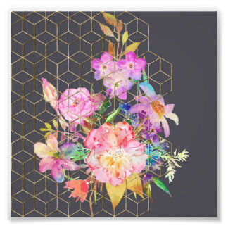 Modern watercolor floral and gold geometric cubes. photo print