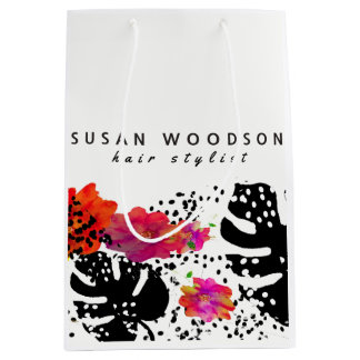 Modern Watercolor Floral Bold Monstera Pattern Medium Gift Bag