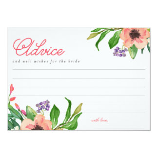 Modern Watercolor Floral Bridal Shower Advice Card 11 Cm X 16 Cm Invitation Card