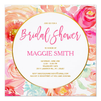 MODERN WATERCOLOR FLORAL BRIDAL SHOWER CARD